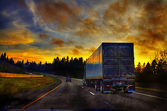 sunset on a truck